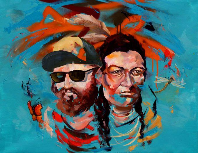 Moderne maleri til salg hipster indianer
