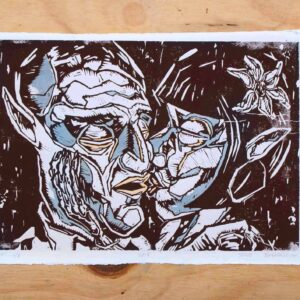 To mennesker kysser på en kunstplakat