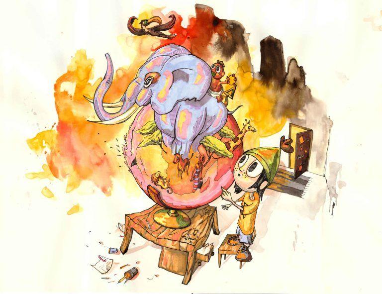 Børnebogsillustrationer elefant og jordklode