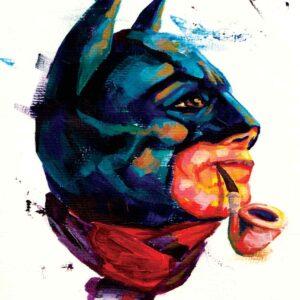 Professionel tegner illustrator tegner tegningen Batman om søndagen