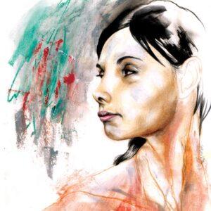 Kvindeportræt tegnet af professionel tegner og illustrator Jakob Ingvorsen