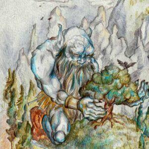 Fantasy illustration af jætte der plejer sit ege træ