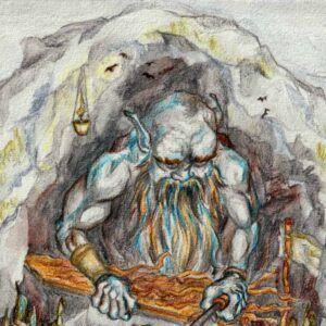 Fantasy illustration af jætte der bearbejder træ i sit værksted