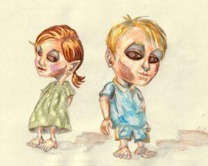 To børn udviklet som characterdesign af illustrator Jakob i