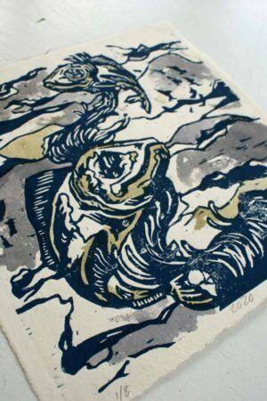 Kunst tryk med motiv af fisken Menhaden