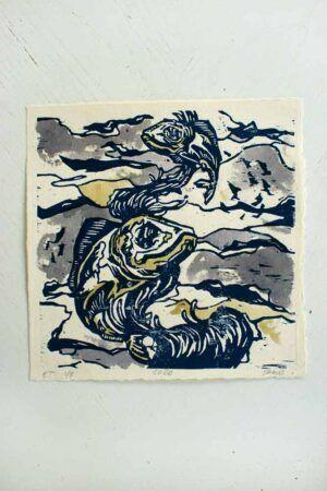 Kunst tryk af fisk lavet af billedkunstner Jakob i