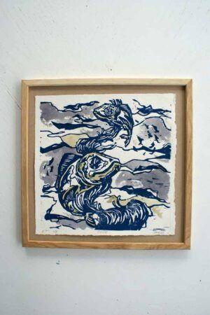 Kunst tryk af fisk i ramme