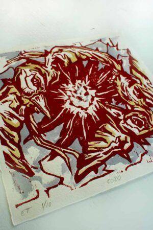Kunst tryk med røde fugle af kunstner Jakob i