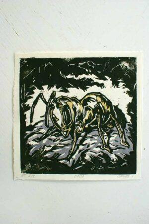 Kunst tryk lavet med træsnit af billedkunstner Jakob i