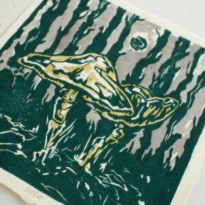 Kunsttryk med svampe motiv