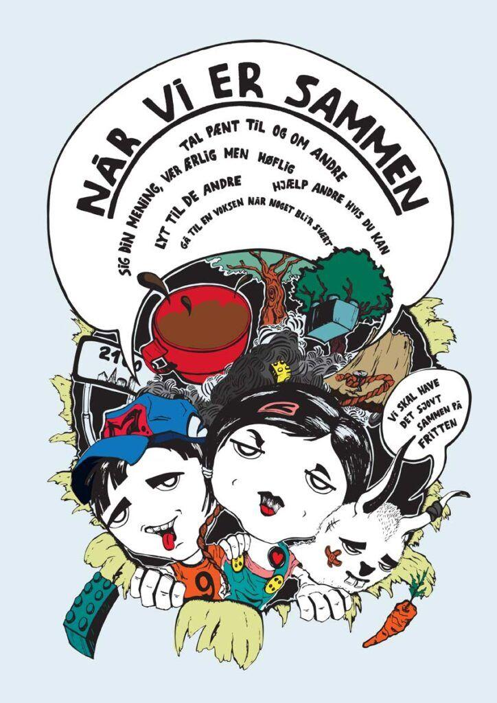 Tegneserietegner Jakob i tegner plakat til Børnevængets Max og Mie tegneserie