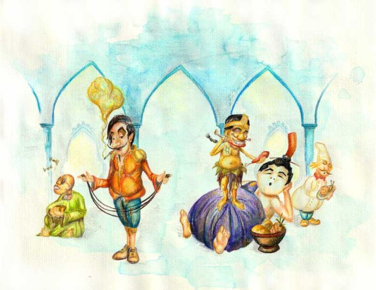 Illustration til børn i børnebogen prinsessen og bønnestagen