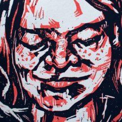 Kunsttryk med ansigt af pige