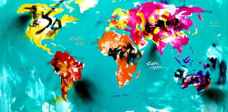 Malerier af verdenskort lavet på bestilling af billedkunstner Jakob i